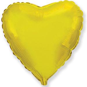Шар с гелием фольгированный Сердце золото 18″