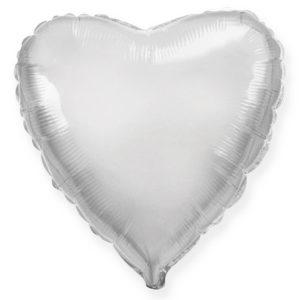 Шар с гелием фольгированный Сердце-Серебро 18″