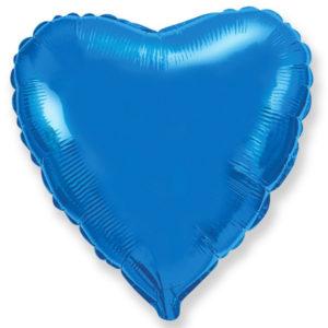 Шар с гелием фольгированный Сердце-Синий 18″