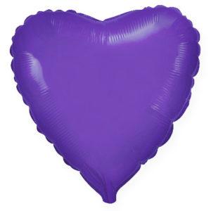 Шар с гелием фольгированный Сердце-Фиолетовый 18″