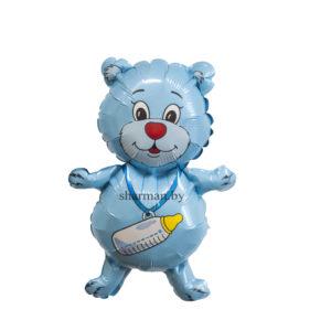 Шар фольгированный медвежонок с бутылочкой голубого цвета
