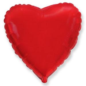 Шар с гелием фольгированный Сердце-Красный 18″