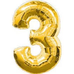 Шар фольгированный с гелием в виде цифры 3 золото, 91 см