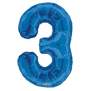 Шар фольгированный с гелием в виде цифры 3 синий, 91 см