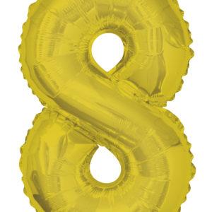 Шар фольгированный с гелием в виде цифры 8 золото, 91 см