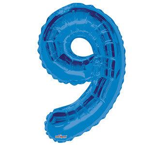 Шар фольгированный с гелием в виде цифры 9 синий, 91 см