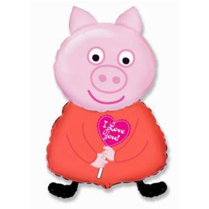 Поросенок розовый 89см * 45см шар воздушный с гелием фольга