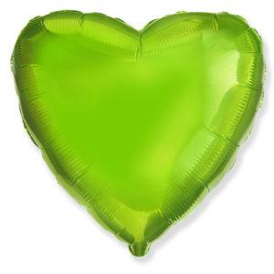 Шар с гелием фольга Сердце LIME GREEN 18″