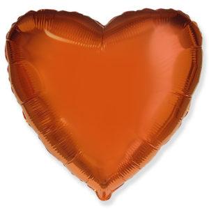 Шар с гелием фольга Сердце ORANGE 18″