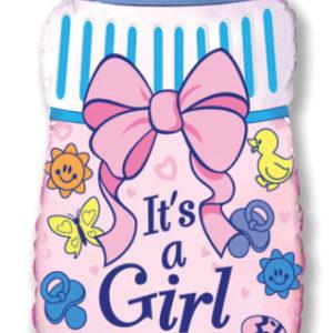 Шар с гелием (31»/79 см) Фигура, Бутылочка для девочки, Розовый