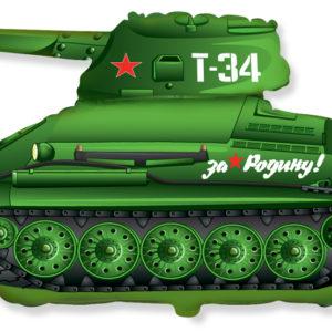 Шар с гелием (31»/79 см) Фигура, Танк T-34, Зеленый