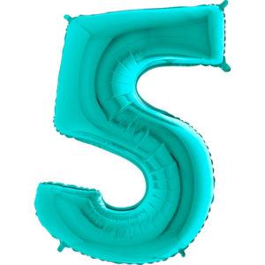 Шар с гелием (40»/102 см) Цифра, 5, Тиффани