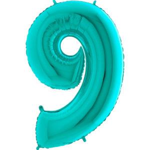 Шар с гелием (40»/102 см) Цифра, 9, Тиффани