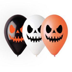 12″ Шар с гелием и рисунком Хэллоуин смайл 1-2 Черный, оранжевый пастель