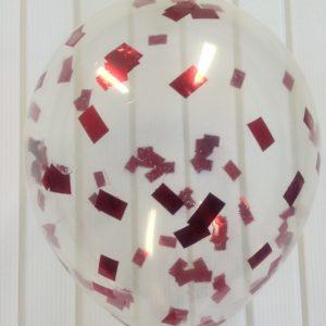 Воздушный шарик с красным конфетти наполнен гелием 12″(30 см)