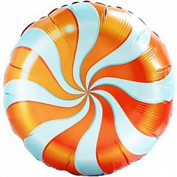 Шар с гелием (18»/46 см) Круг, Леденец, Оранжевый