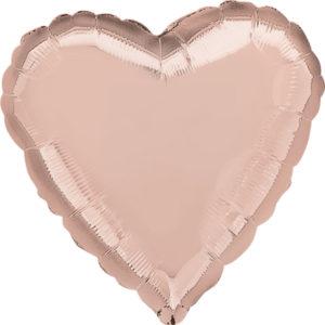 Шар (18″/46 см), Сердце с гелием, Розовое золото, Anagram
