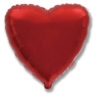 Сердце BURGUNDY 18/45см шар фольга с гелием (к)