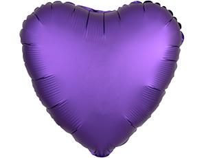 Шар (18″/46 см) Сердце с гелием, Purple Royale, Сатин, Anagram