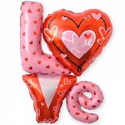 Шар с гелием (41»/104 см) Фигура, Надпись «LOVE» с сердечками