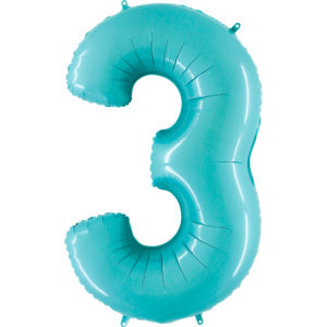 Шар с гелием (40″/102см) Цифра, 3, Пастель голубой