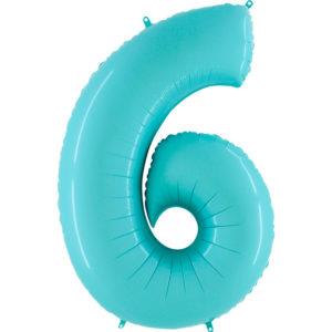 Шар с гелием (40″/102см) Цифра, 6, Пастель голубой