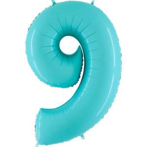 Шар с гелием (40″/102см) Цифра, 9, Пастель голубой