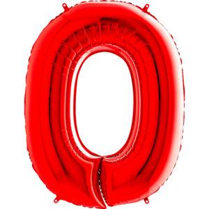 Шар с гелием (40″/102см) Цифра, 0, Красный