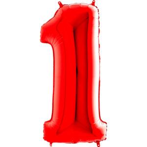 Шар с гелием (40″/102см) Цифра, 1, Красный