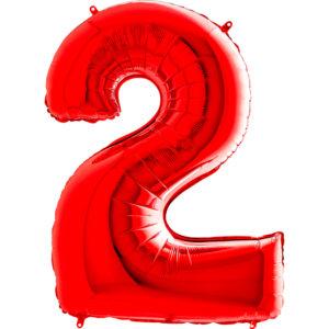 Шар с гелием (40″/102см) Цифра, 2, Красный