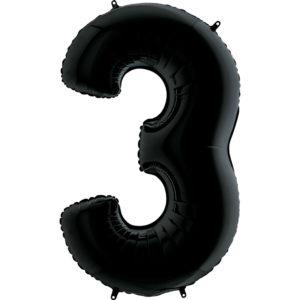 Воздушный шар с гелием (40»/102 см) Цифра, 3, Черный
