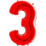 Шар с гелием (40″/102см) Цифра, 3, Красный
