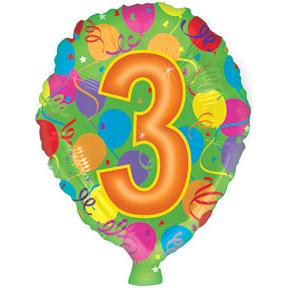 Воздушный шар с гелием (18»/46 см) Цифра, 3
