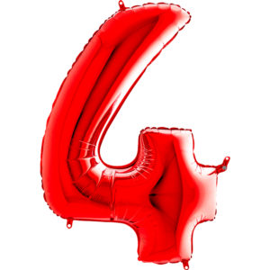 Шар с гелием (40″/102см) Цифра, 4, Красный