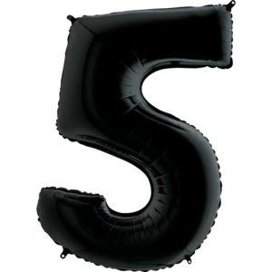 Воздушный шар с гелием (40»/102 см) Цифра, 5, Черный