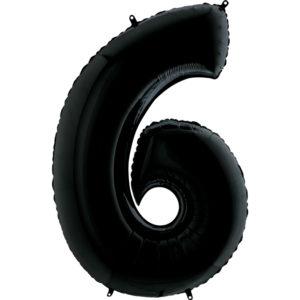 Воздушный шар с гелием (40»/102 см) Цифра, 6, Черный