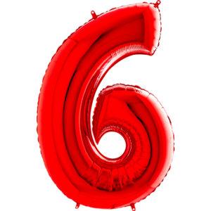 Шар с гелием (40″/102см) Цифра, 6, Красный
