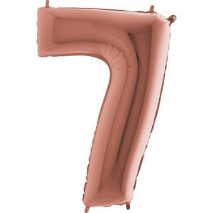 Шар с гелием (40″/102см) Цифра, 7, Розовое золото