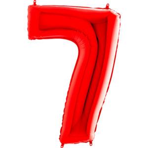 Шар с гелием (40″/102см) Цифра, 7, Красный