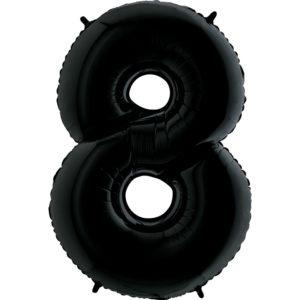 Воздушный шар с гелием (40»/102 см) Цифра, 8, Черный