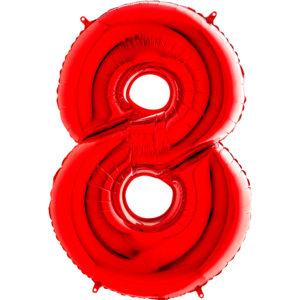 Шар с гелием (40″/102см) Цифра, 8, Красный