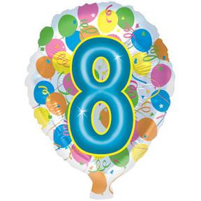Воздушный шар с гелием (18»/46 см) Цифра, 8