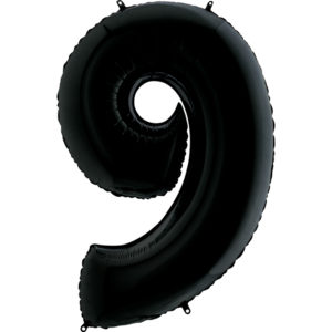 Воздушный шар с гелием (40»/102 см) Цифра, 9, Черный