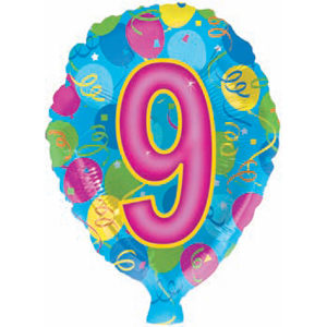 Воздушный шар с гелием (18»/46 см) Цифра, 9