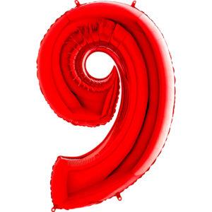 Шар с гелием (40″/102см) Цифра, 9, Красный