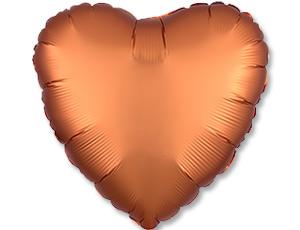 Шар (18″/46 см) Сердце с гелием, Amber, Сатин, Anagram