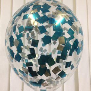 Воздушный шарик с голубым и серебристым конфетти наполнен гелием 12″(30 см)