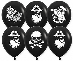 Шар с гелием (12»/30 см) Пираты, Черный, пастель, 2 ст