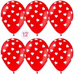 Шар с гелием (12»/30 см) Сердца, Красный (315), кристалл, 5 ст