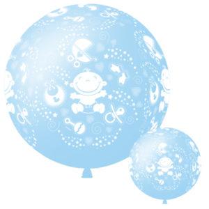 Шар с гелием 36/91см Декоратор SKY BLUE (шелк) 6 ст. рис С Днем Рождения Малыш